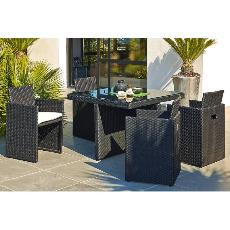 salon de jardin 1 table 4 fauteuils