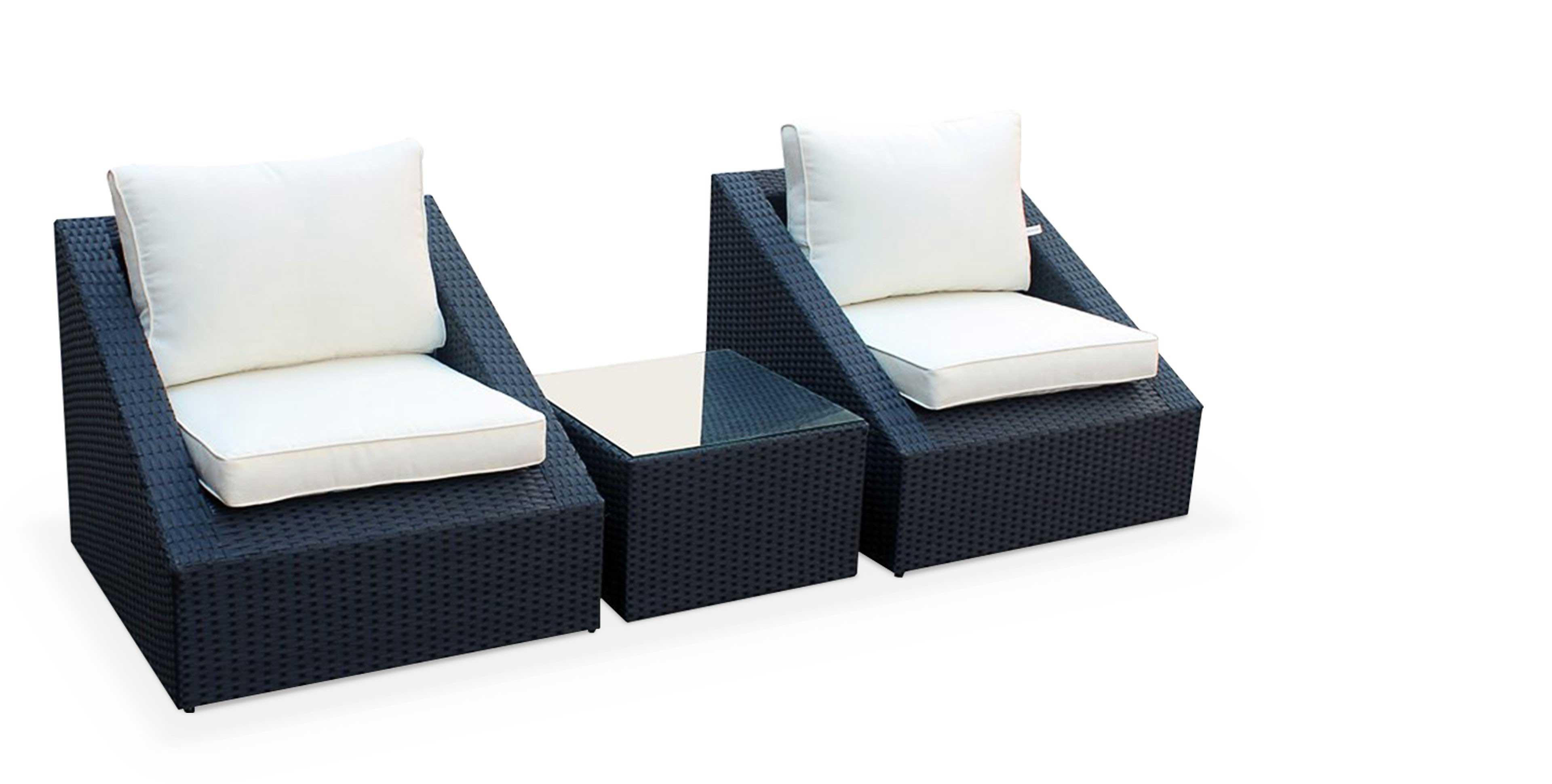 salon de jardin 2 fauteuils 1 table
