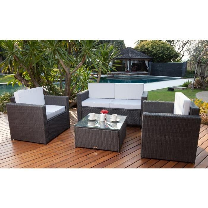 salon de jardin 4 places en resine tressee samoa gris clair