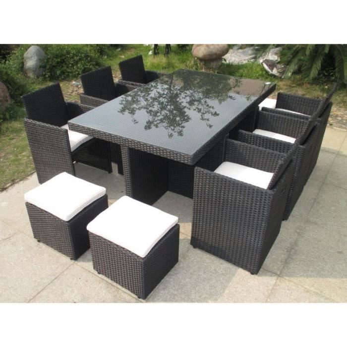 salon de jardin 6 fauteuils encastrables resine tressee