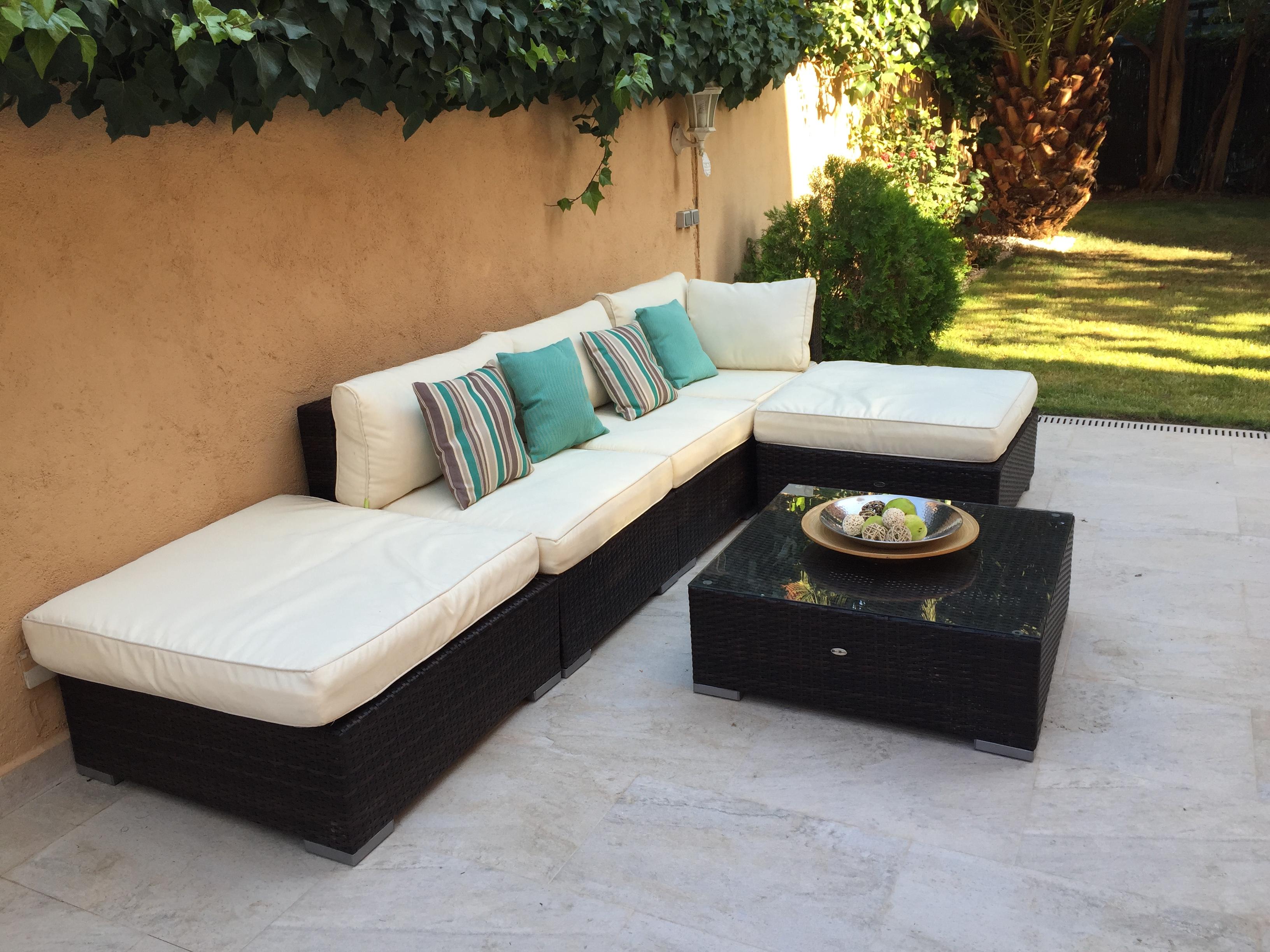 salon de jardin 7 places en resine tressee milano