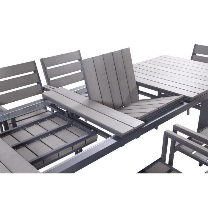salon de jardin 9 pieces en aluminium et nowood