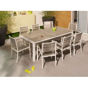 salon de jardin aluminium 1 table + 8 fauteuils