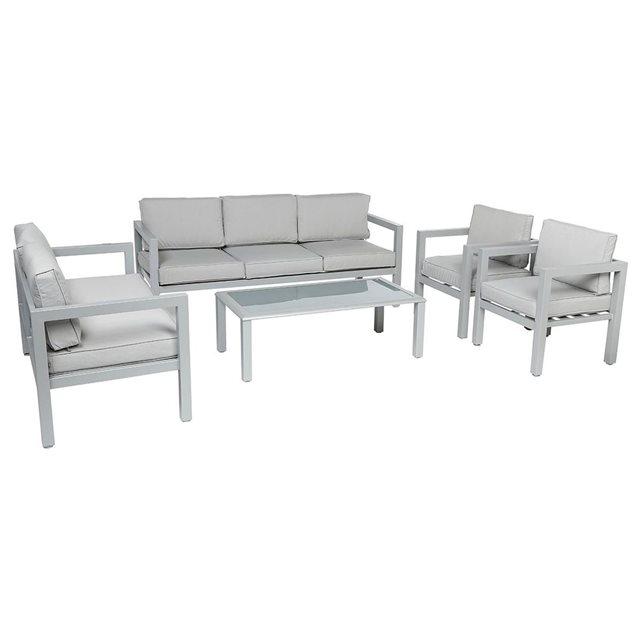 salon de jardin azua gris - 7 pieces