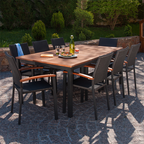 salon de jardin barcelona aluminium 1 table 6 fauteuils
