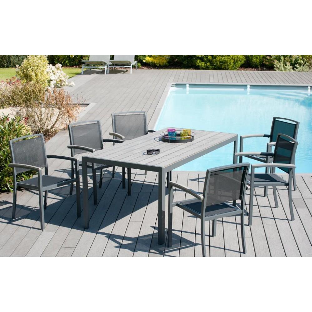 salon de jardin carla aluminium 1 table + 6 fauteuils