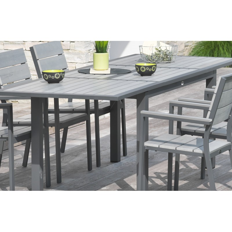 salon de jardin faugeres aluminium 1 table + 6 fauteuils