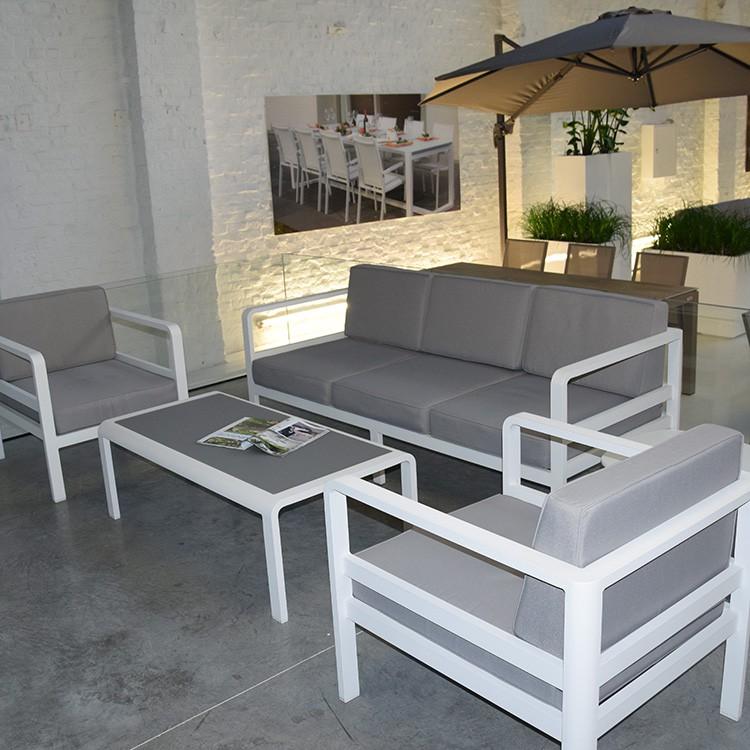 salon de jardin gris et blanc