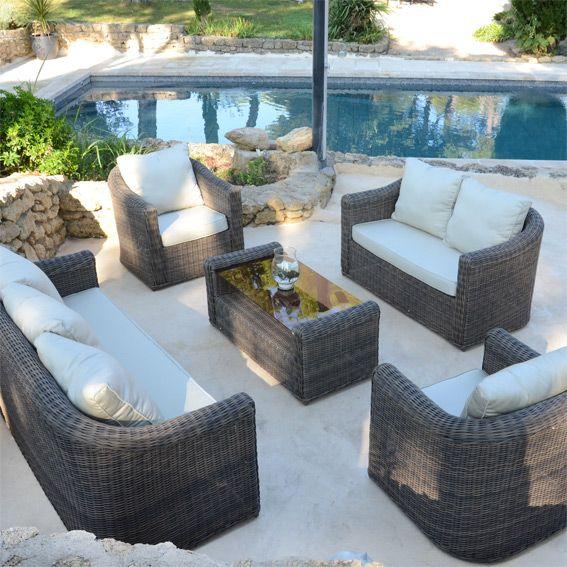 salon de jardin lavidia sable - 7 places