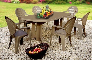 salon de jardin vega taupe 1 table 2m20 + 6 fauteuils