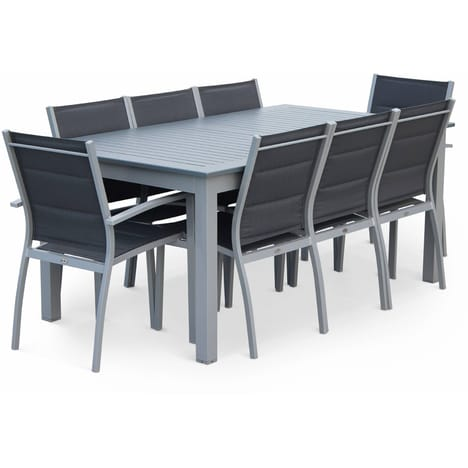 table de jardin 8 places en aluminium et textilene