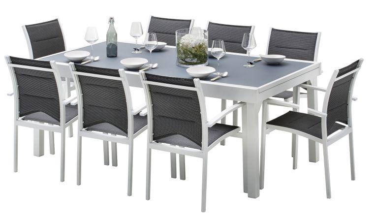 table de jardin 8 places en aluminium et textilene