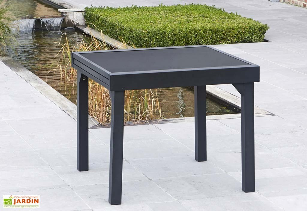 table de jardin 90×90 avec rallonge