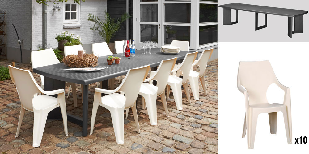 table de jardin allibert new york anthracite