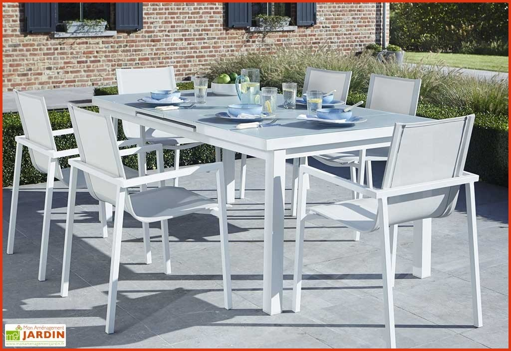 table de jardin aluminium et verre