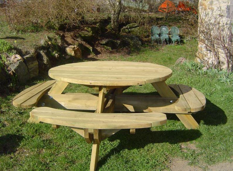 Emejing Table De Jardin Ronde En Bois Avec Banc Images ...