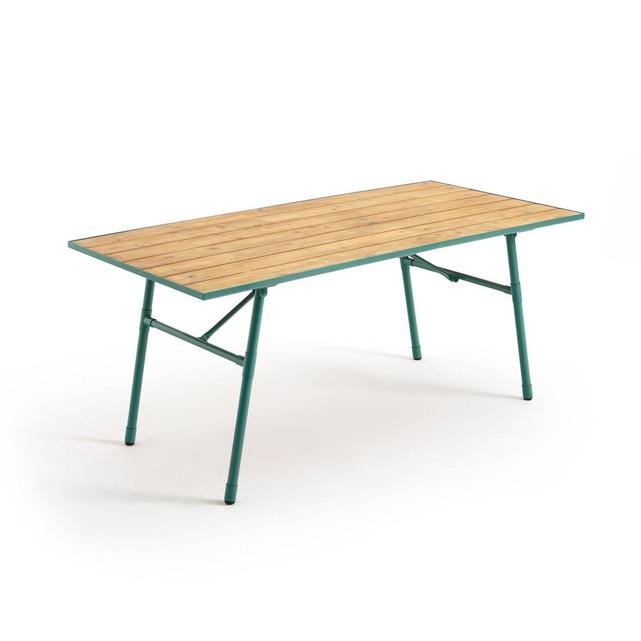 table de jardin bois et metal