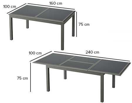table de jardin dimension