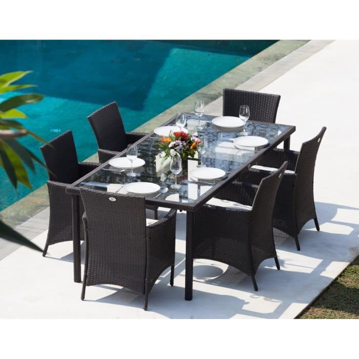 table de jardin et fauteuils en resine tressee
