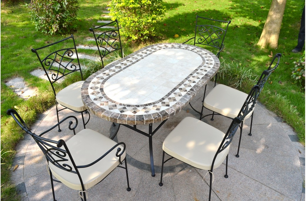 table de jardin fer forge et mosaique