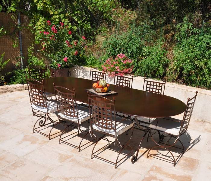 table de jardin fer forge