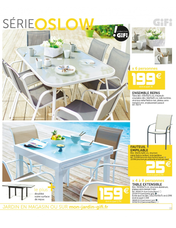 table de jardin gifi catalogue
