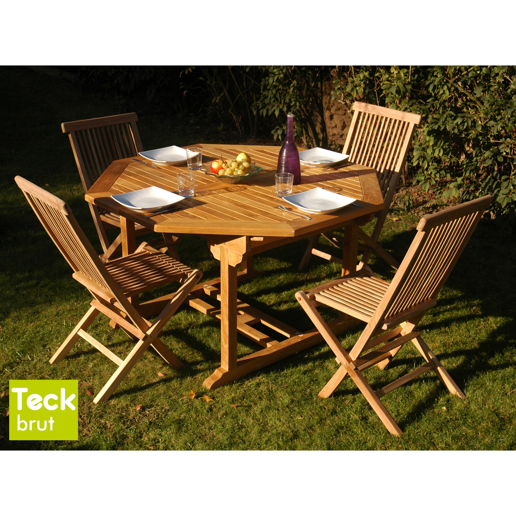 table de jardin hexagonale bois