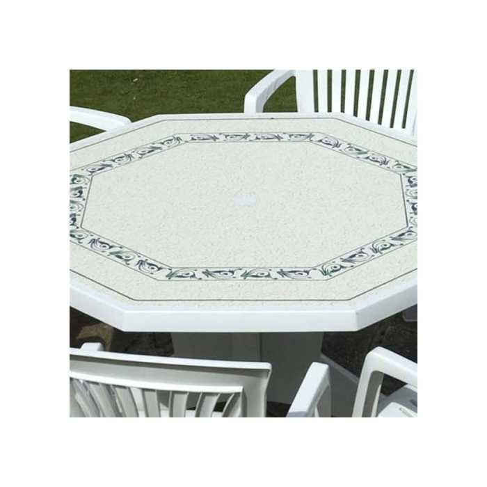table de jardin hexagonale en plastique
