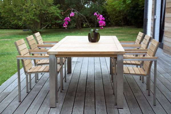 table de jardin inox