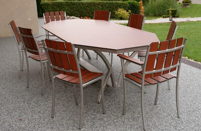 table de jardin octogonale en resine