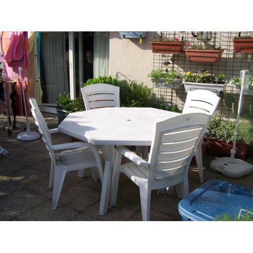 table de jardin octogonale plastique