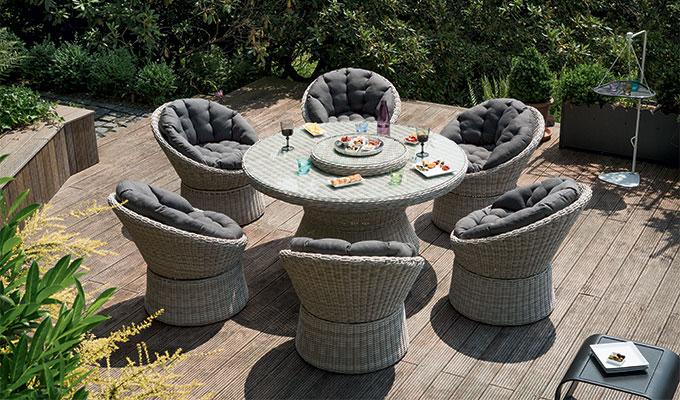 table de jardin osier tresse