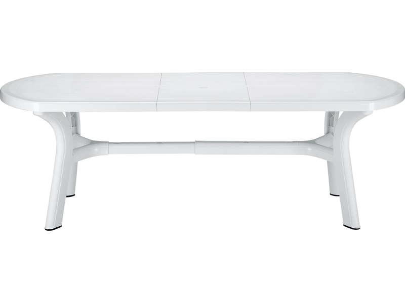table de jardin ovale blanche
