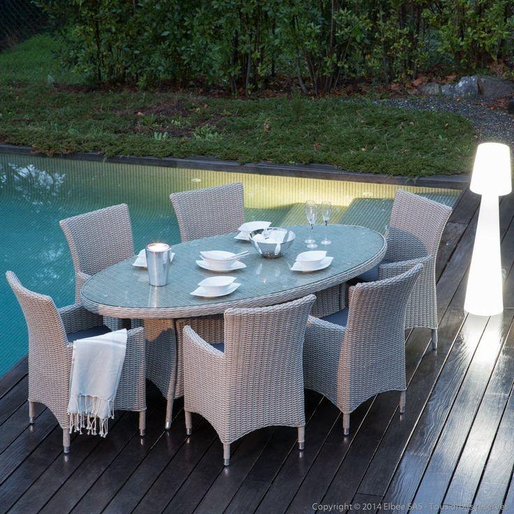 table de jardin ovale en resine