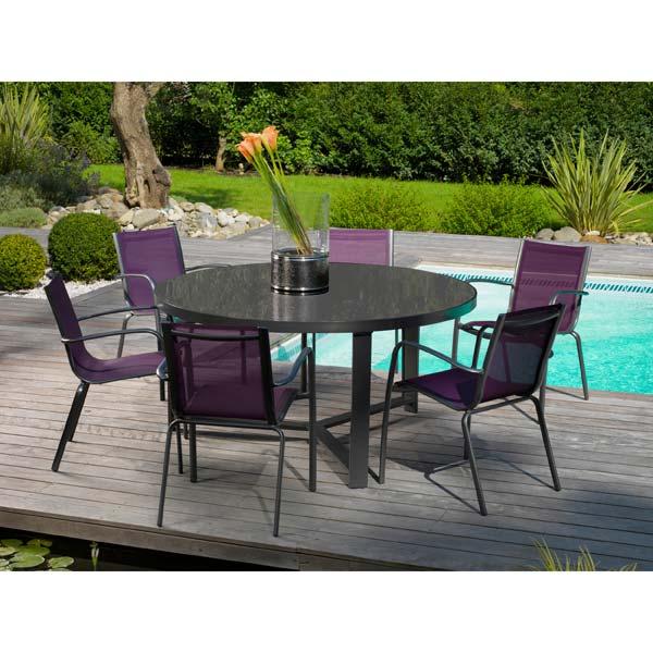 table de jardin ronde 6 personnes