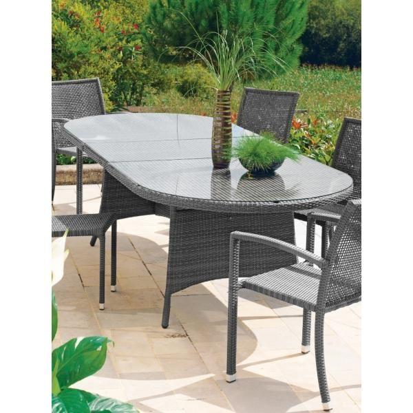 table de jardin ronde avec rallonge