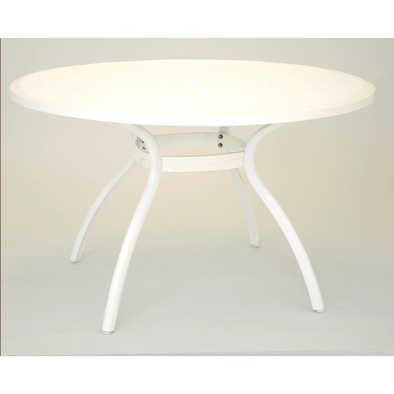 table de jardin ronde blanche