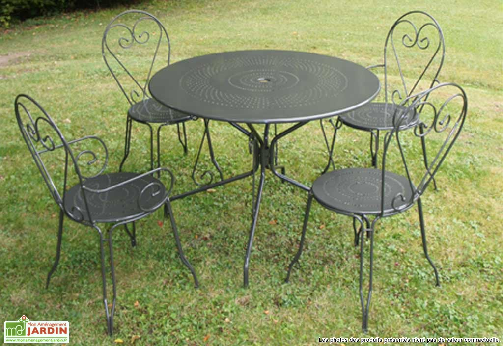table de jardin ronde fer forge