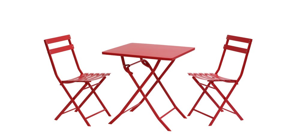 table de jardin rouge