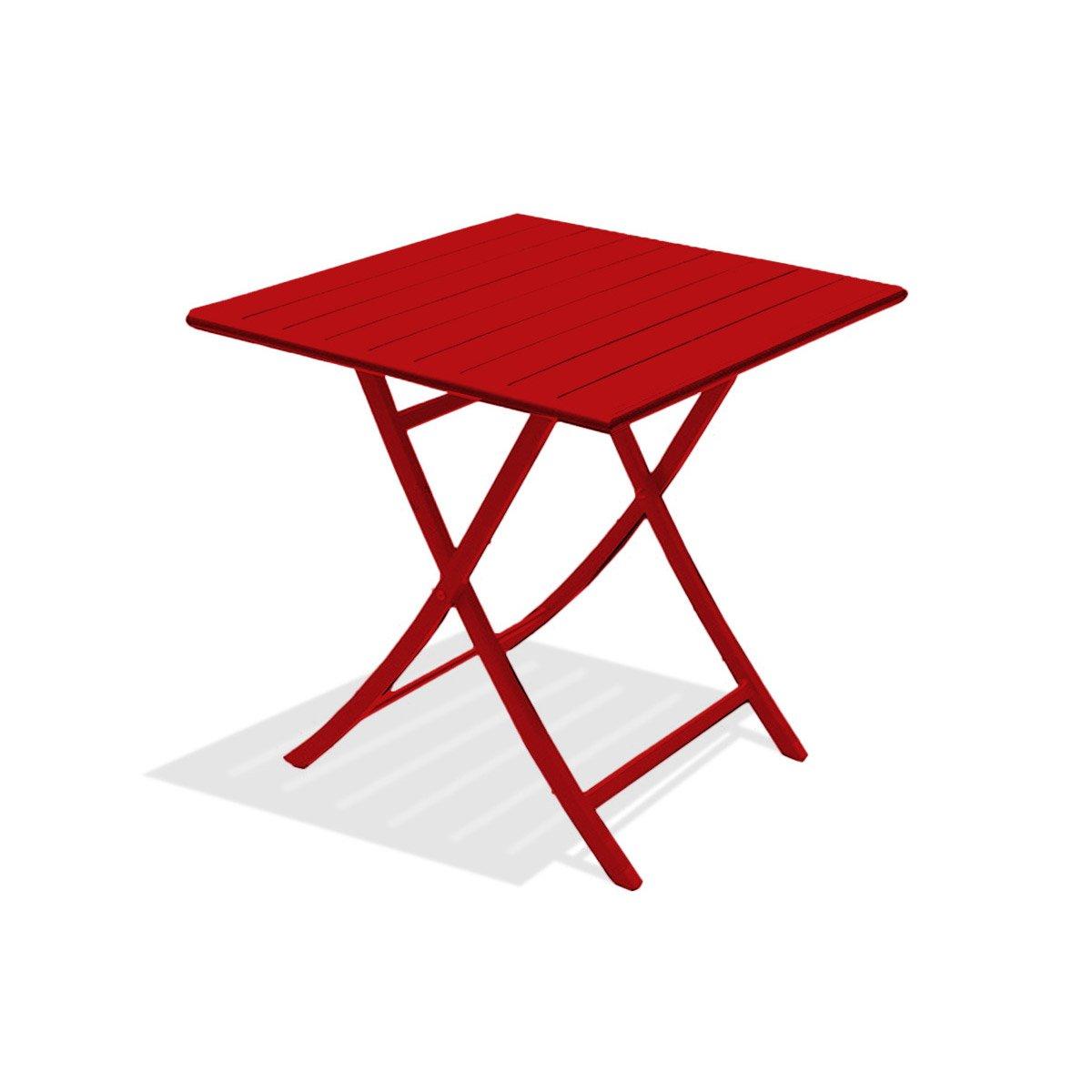 table de jardin rouge