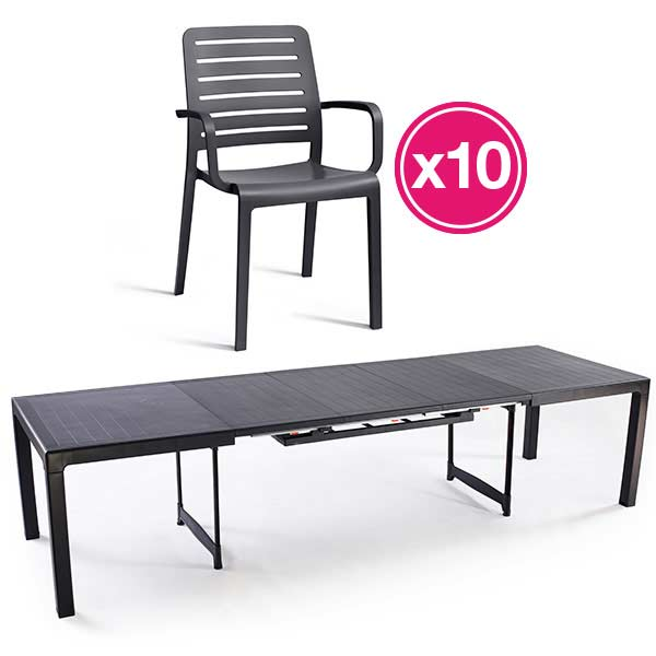 Grosfillex Verte 6 Table Jardin Decor De Vega Mozaic m08nwvN
