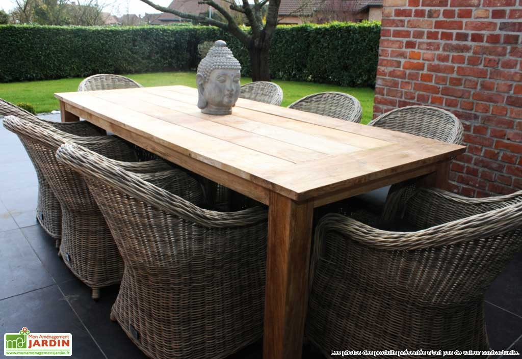 table de jardin teck massif