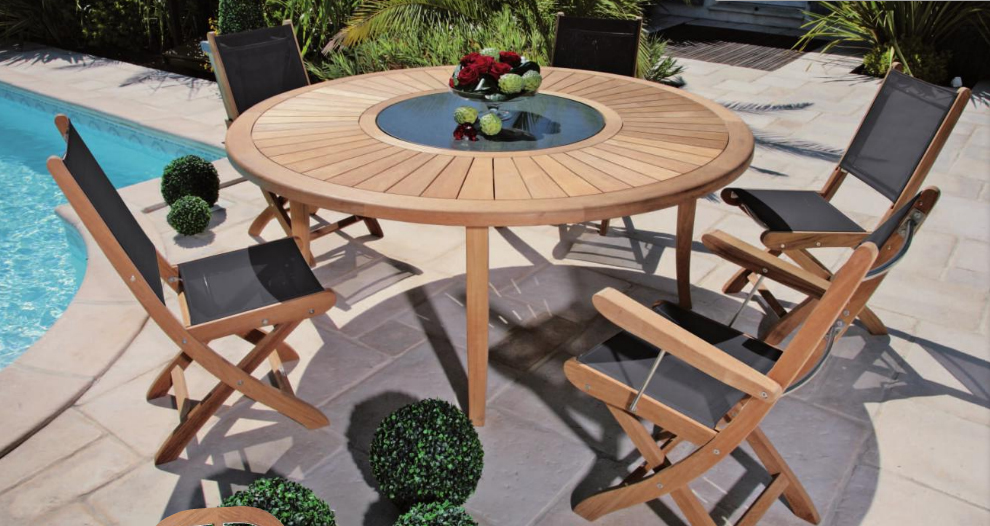 Salon de jardin table ronde en teck - seaandsea
