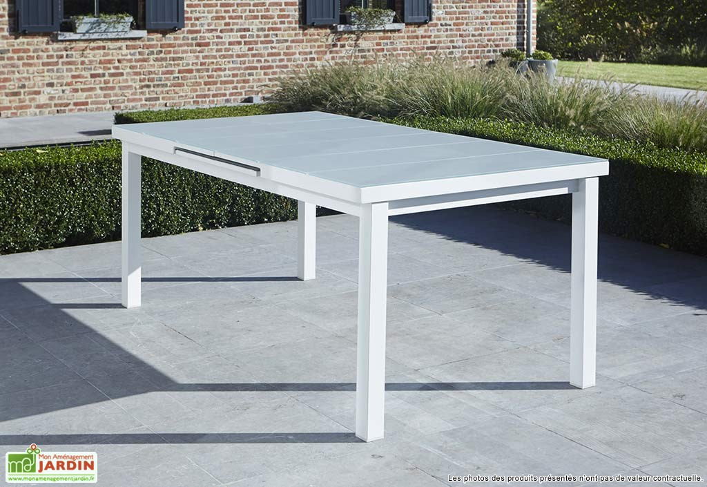 table de jardin verre extensible