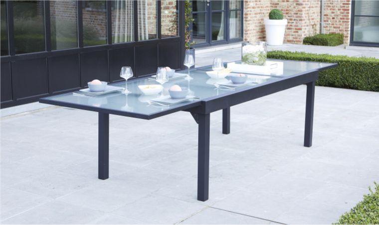 Salon de jardin 6 chaises table à rallonge extensible 150/210cm alu ...