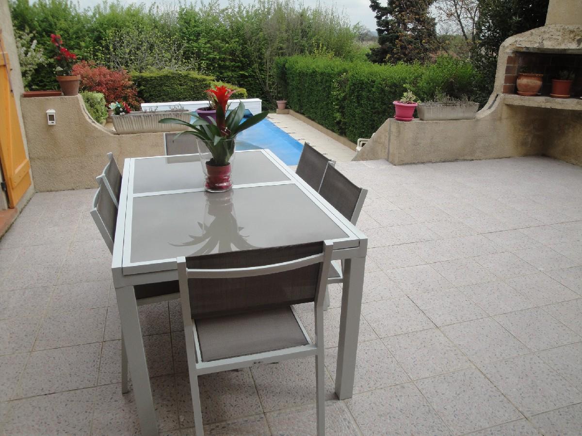 table de jardin verre extensible