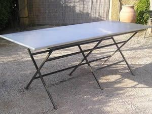 table de jardin zinc