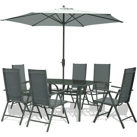 salon de jardin 6 personnes + parasol aix