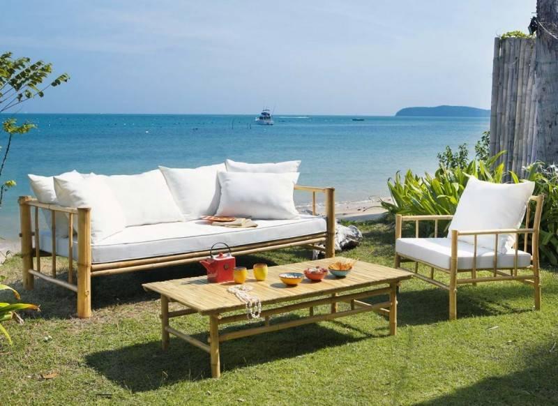 salon de jardin en bambou