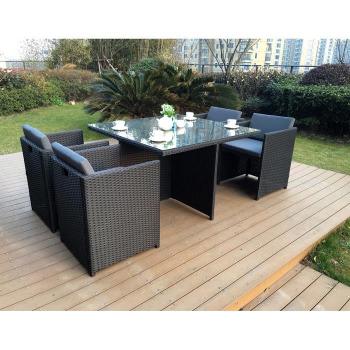 table de jardin encastrable 4 places